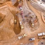 Fresh construction site from above with various types of plant