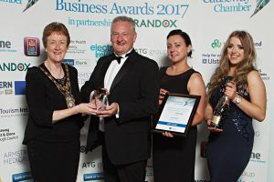 At the Causeway Coast and Glens Business Awards 2017 the Innovation winners award presented by Mayor Ald Joan Baird to Dr Mark McKinney of ATG with staff Lindsay Goldsworthy and Carolyn Scott. 011Chamber Award winners 2017