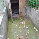 Dog kennel that has been contaminated with oil