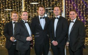 Richard Grundle, Eddie Mack, Alastair Christy, Scott McKinney and Ciaran O'Neill pictured at the Business Eye First Trust Bank Business Awards at the Belfast Waterfront.