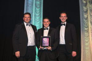 Ciaran O'Neill and Scott McKinney from ATG Group picking up their highly commended award for R&D project of the year