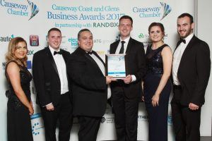 At the Causeway Coast and Glens Business Awards 2017 the Business Growth of the Year runners up award presented by Aaron Ennis of Danske Bank to Scott McKinney and staff of ATG.