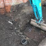 Digger removing the soils infected with Japanese Knotweed