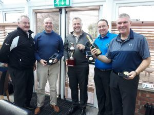 ATG Group Managing Director, Mark McKinney handing prizes to winners of some of the golf day competitions