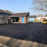 Reinstated playground with fresh tarmac