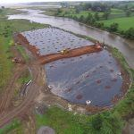 Aerial photo of the finished horizontal membrane which is now being capped with soils
