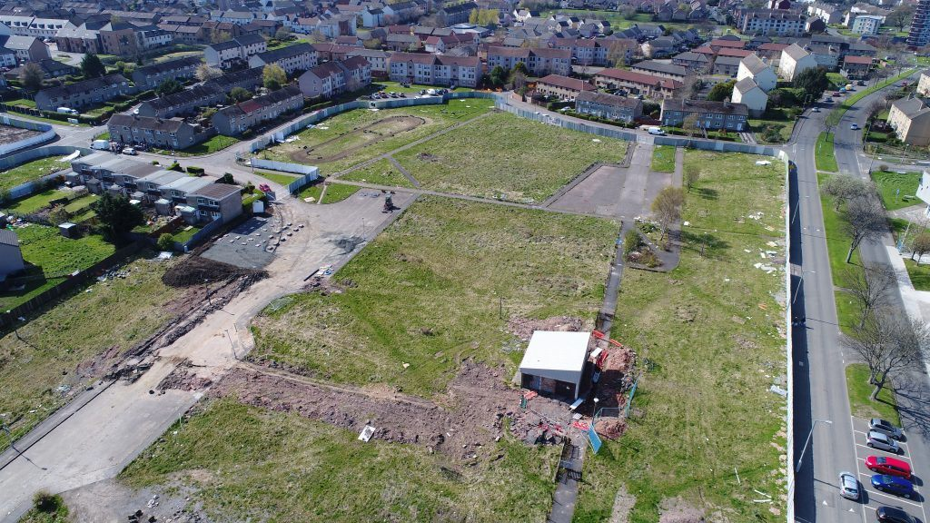 Aerial overview of the 2nd site at Pennywell, Edinburgh