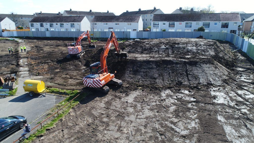 Photo of earthworks and remediation being performed on site in Pennywell, Edinburgh