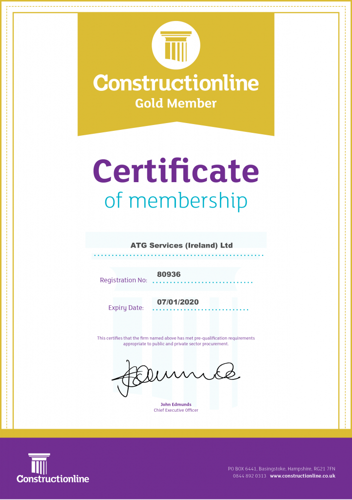 ATG Constructionline Gold Certificate