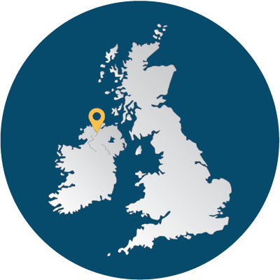 Map of the UK and Ireland showing the position of our Cavanacaw office
