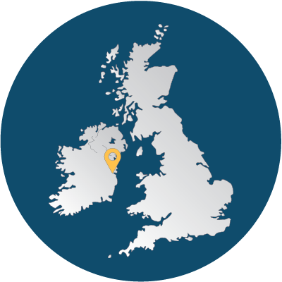 Map of the UK and Ireland showing the position of our Dublin office