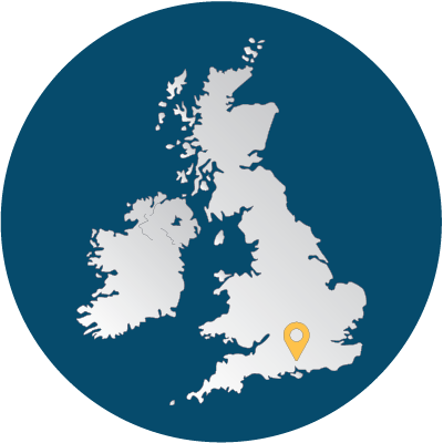 Map of the UK and Ireland showing the position of our Winchester office