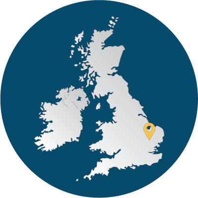 Map of the UK and Ireland showing the position of our Cambridge office